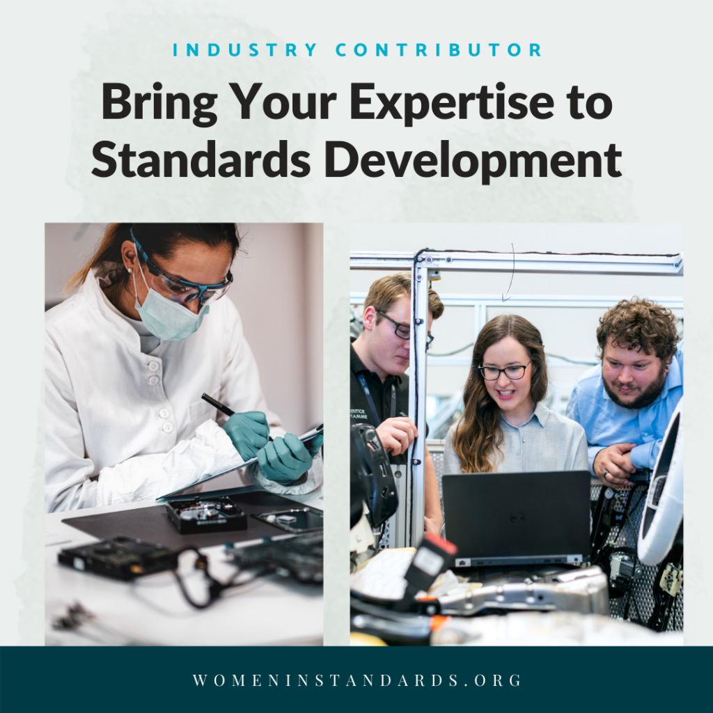 Image of technicians working with title Bring your Expertise to Standards Development