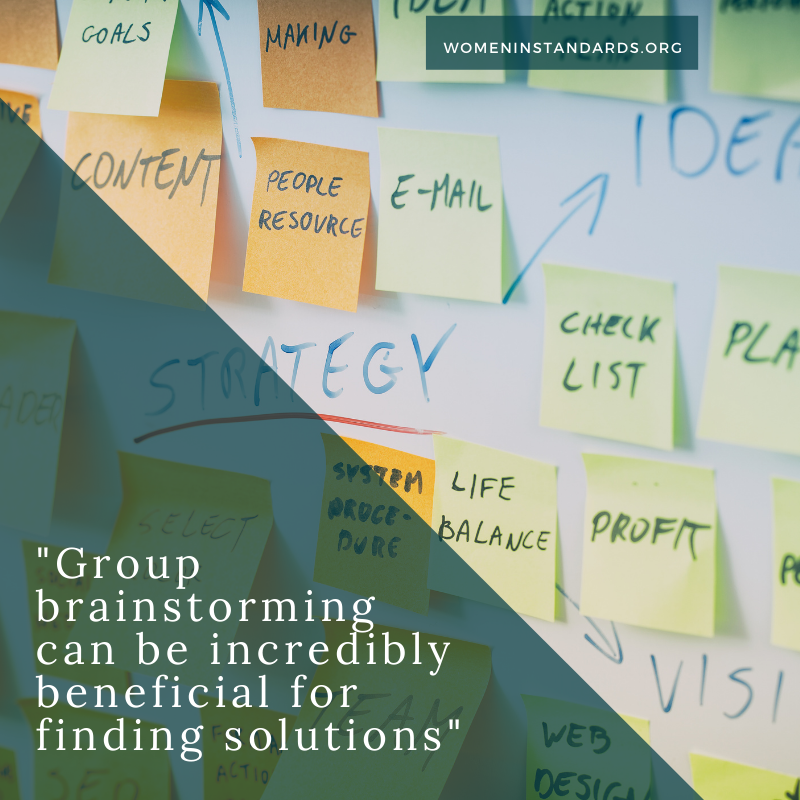 Image of sticky notes and message about brainstorming solutions