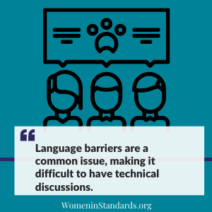 "Image with text ""Language barriers are a common issue, making it difficult to have technical discussions"""