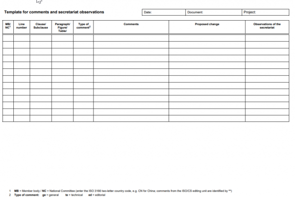 Image of a comment table used by ISO