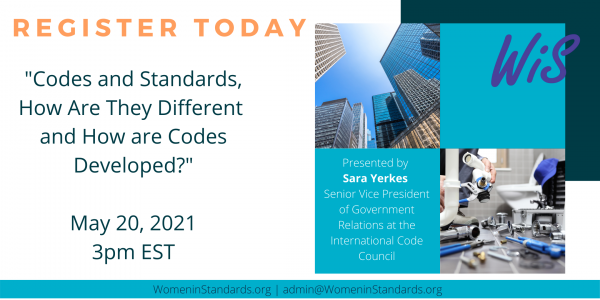 Upcoming webinar on Codes and Standards, How Are They Different and How are Codes Developed?