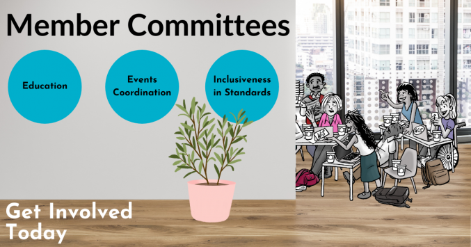 Image of committees listed on wall with committee meeting in background